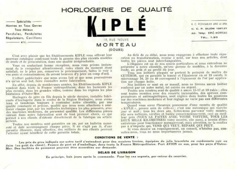 Texte publicitaire Kiplé 1955.