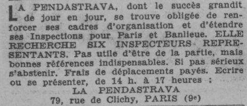 Annonce d'embauche dans le Paris Soir du 31 août 1933.